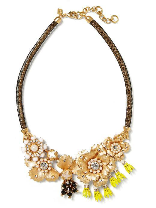 Floral Bell Focal Necklace Gold - secondary colour: chocolate brown; predominant colour: gold; occasions: evening, occasion; length: short; size: large/oversized; material: chain/metal; finish: metallic; embellishment: jewels/stone; style: bib/statement; season: s/s 2016; wardrobe: event