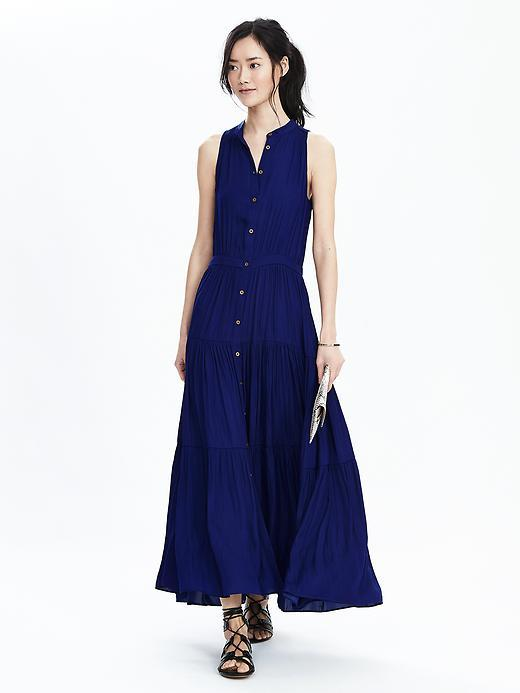 Tiered Sleeveless Maxi Dress Stowaway Blue - pattern: plain; sleeve style: sleeveless; style: maxi dress; length: ankle length; predominant colour: navy; occasions: casual; fit: body skimming; neckline: collarstand & mandarin with v-neck; fibres: polyester/polyamide - 100%; sleeve length: sleeveless; pattern type: fabric; texture group: other - light to midweight; season: s/s 2016; wardrobe: basic