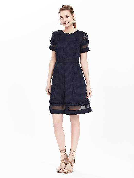 Geo Lace Panel Midi Dress Navy - pattern: plain; predominant colour: navy; occasions: evening; length: just above the knee; fit: fitted at waist & bust; style: fit & flare; fibres: polyester/polyamide - 100%; neckline: crew; sleeve length: short sleeve; sleeve style: standard; texture group: crepes; pattern type: fabric; embellishment: lace; season: s/s 2016; wardrobe: event; embellishment location: hem, shoulder