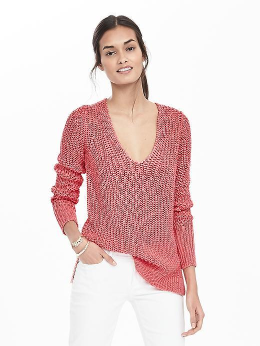 Italian Linen Chunky Vee Pullover Guava Pink - neckline: v-neck; pattern: plain; length: below the bottom; style: standard; predominant colour: pink; occasions: casual, creative work; fibres: linen - 100%; fit: standard fit; sleeve length: long sleeve; sleeve style: standard; texture group: knits/crochet; pattern type: knitted - fine stitch; season: s/s 2016; wardrobe: highlight