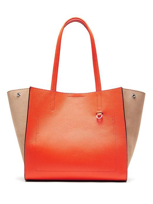 Pebbled Italian Leather Tote Orange - predominant colour: bright orange; occasions: casual, creative work; type of pattern: standard; style: tote; length: handle; size: oversized; material: leather; finish: plain; pattern: colourblock; season: s/s 2016; wardrobe: highlight
