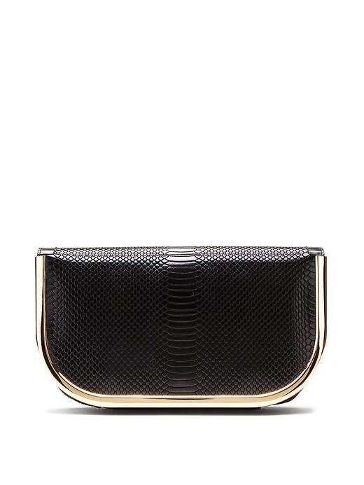 Metal Frame Snake Clutch Black - secondary colour: gold; predominant colour: black; occasions: evening, occasion; type of pattern: standard; style: clutch; length: hand carry; size: small; material: leather; pattern: plain; finish: plain; season: s/s 2016
