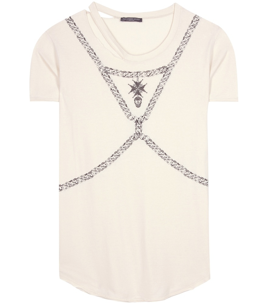 Printed Cotton T Shirt - style: t-shirt; predominant colour: white; secondary colour: mid grey; occasions: casual; length: standard; fibres: cotton - 100%; fit: body skimming; neckline: crew; sleeve length: short sleeve; sleeve style: standard; pattern type: fabric; pattern: patterned/print; texture group: jersey - stretchy/drapey; multicoloured: multicoloured; season: s/s 2016; wardrobe: highlight