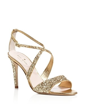 Felicity Glitter Crisscross High Heel Sandals - predominant colour: gold; occasions: evening, occasion; material: leather; heel height: mid; embellishment: glitter; heel: stiletto; toe: open toe/peeptoe; style: strappy; finish: metallic; pattern: plain; season: s/s 2016; wardrobe: event
