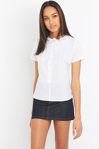 White Frill Short Sleeve Shirt, White - neckline: shirt collar/peter pan/zip with opening; pattern: plain; style: shirt; predominant colour: white; occasions: casual; length: standard; fibres: cotton - 100%; fit: body skimming; sleeve length: short sleeve; sleeve style: standard; texture group: cotton feel fabrics; pattern type: fabric; season: s/s 2016; wardrobe: basic