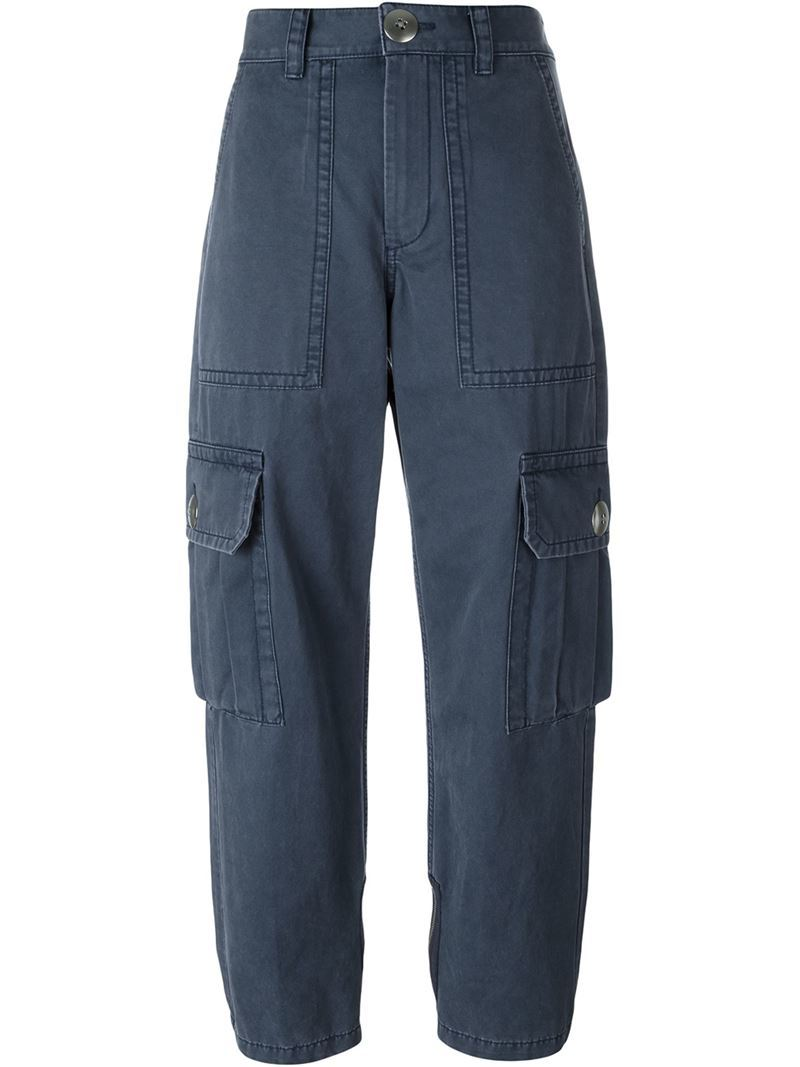 'cargo' Trousers, Women's, Blue - length: standard; pattern: plain; waist: high rise; style: cargo; predominant colour: navy; occasions: casual; fibres: cotton - 100%; texture group: cotton feel fabrics; fit: straight leg; pattern type: fabric; season: s/s 2016; wardrobe: basic