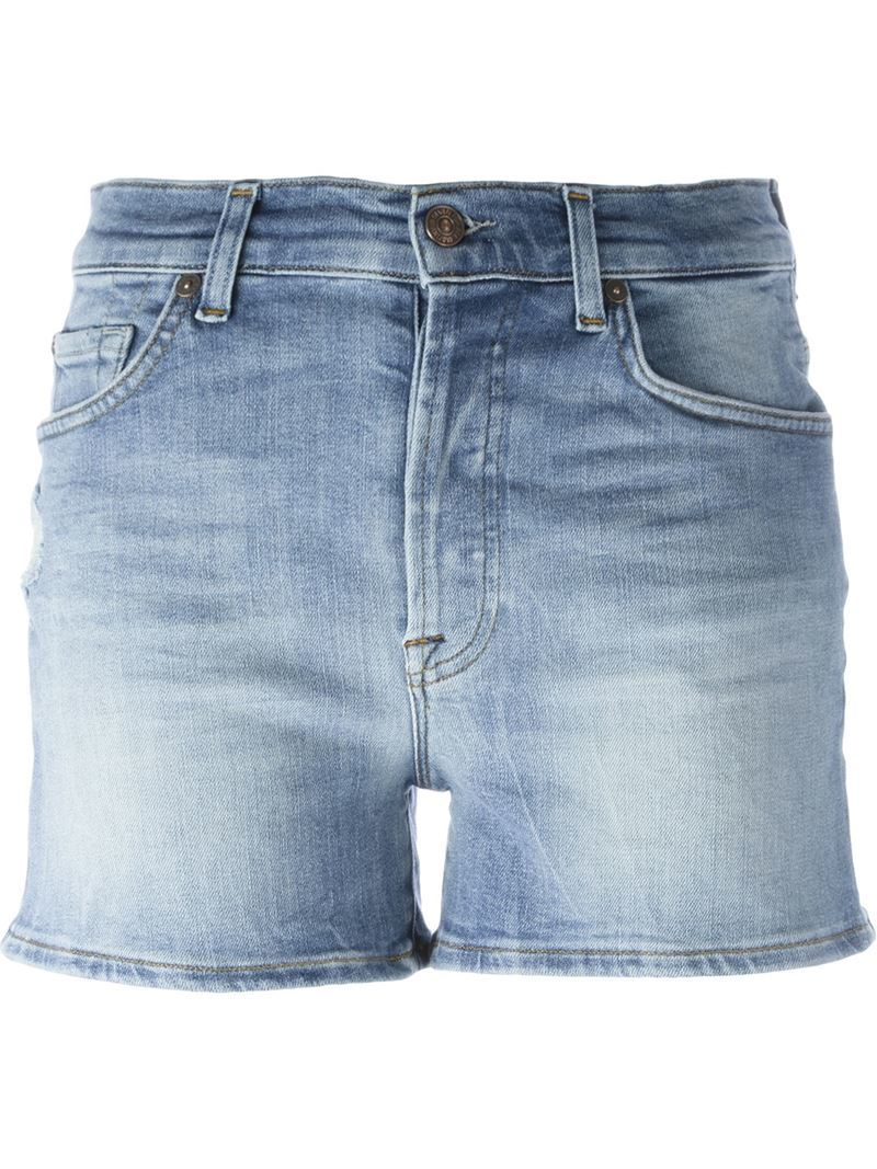 Stretch Mid Rise Shorts, Women's, Blue - pattern: plain; pocket detail: traditional 5 pocket; waist: mid/regular rise; predominant colour: pale blue; occasions: casual, holiday; fibres: cotton - stretch; texture group: denim; pattern type: fabric; season: s/s 2016; style: denim; length: short shorts; fit: slim leg; wardrobe: holiday