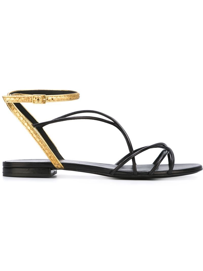 'nu Pieds' Flat Sandals, Women's, Black - secondary colour: gold; predominant colour: black; occasions: casual, holiday; material: leather; heel height: flat; ankle detail: ankle strap; heel: standard; toe: open toe/peeptoe; style: strappy; finish: metallic; pattern: colourblock; season: s/s 2016; wardrobe: highlight