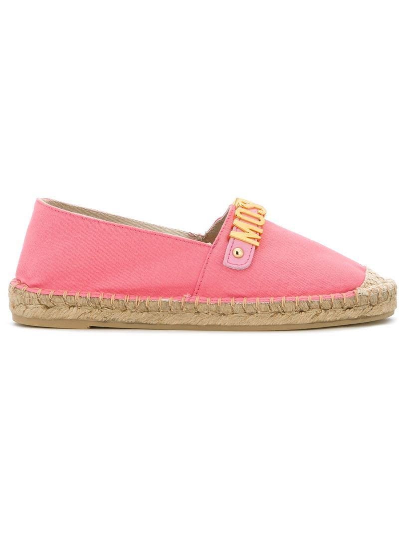 Logo Plaque Espadrilles, Women's, Size: 39, Pink/Purple - predominant colour: pink; occasions: casual, holiday; material: fabric; heel height: flat; toe: round toe; finish: plain; pattern: plain; style: espadrilles; season: s/s 2016; wardrobe: highlight