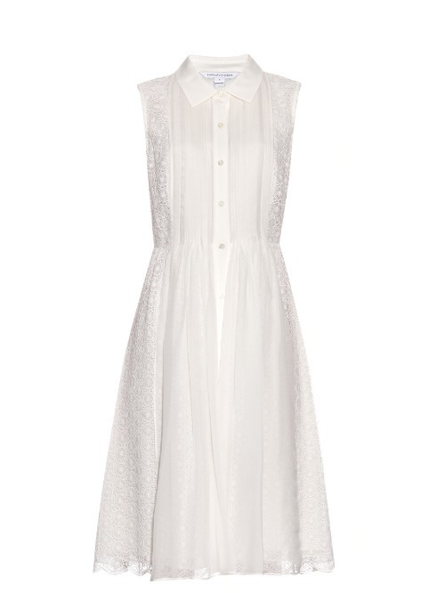 Nieves Shirtdress - style: shirt; length: calf length; neckline: shirt collar/peter pan/zip with opening; pattern: plain; sleeve style: sleeveless; predominant colour: ivory/cream; occasions: casual; fit: fitted at waist & bust; fibres: silk - 100%; sleeve length: sleeveless; texture group: sheer fabrics/chiffon/organza etc.; pattern type: fabric; season: s/s 2016; wardrobe: basic