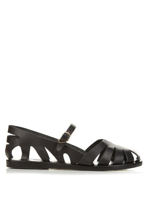 Apollonia Cut Out Leather Sandals - predominant colour: black; occasions: casual, holiday; material: leather; heel height: flat; heel: block; style: gladiators; finish: plain; pattern: plain; toe: caged; season: s/s 2016