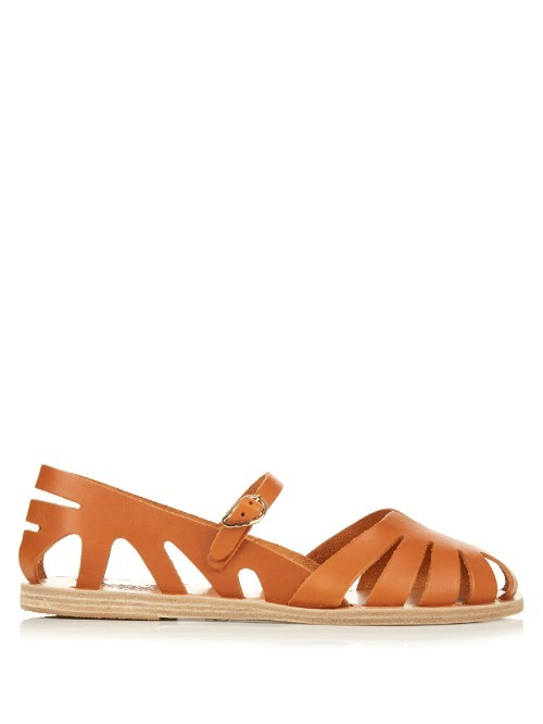 Apollonia Cut Out Leather Sandals - predominant colour: terracotta; occasions: casual, holiday; material: leather; heel height: flat; heel: block; style: gladiators; finish: plain; pattern: plain; toe: caged; season: s/s 2016; wardrobe: highlight