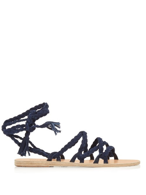 Kariatida Wraparound Suede Sandals - predominant colour: navy; occasions: casual, holiday; material: suede; heel height: flat; ankle detail: ankle tie; heel: block; toe: open toe/peeptoe; style: gladiators; finish: plain; pattern: plain; season: s/s 2016; wardrobe: basic