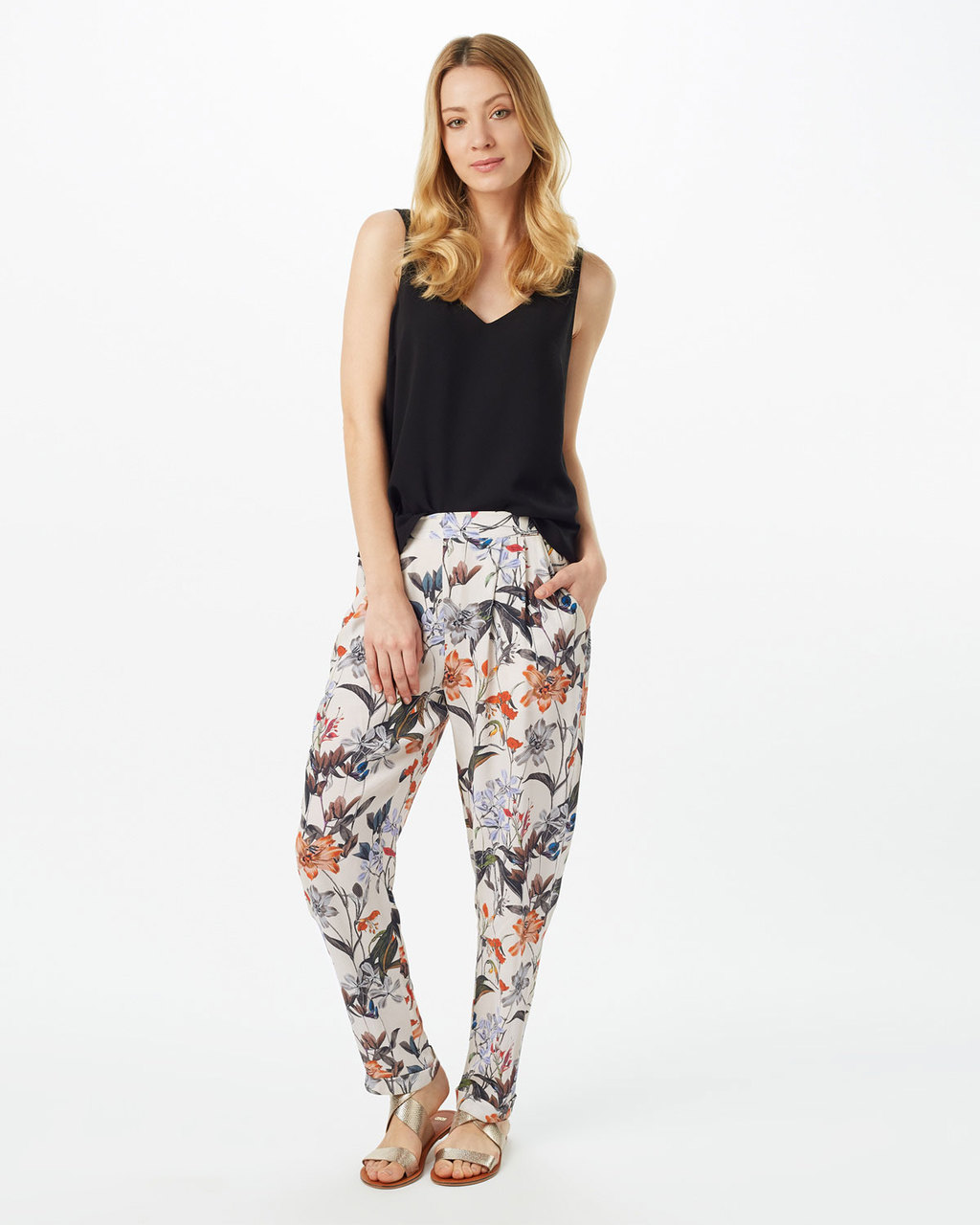 Marguerite Print Trouser - length: standard; waist: mid/regular rise; predominant colour: ivory/cream; secondary colour: dark green; occasions: casual; fibres: polyester/polyamide - 100%; fit: tapered; pattern type: knitted - fine stitch; pattern: patterned/print; texture group: other - light to midweight; style: standard; multicoloured: multicoloured; season: s/s 2016; wardrobe: highlight