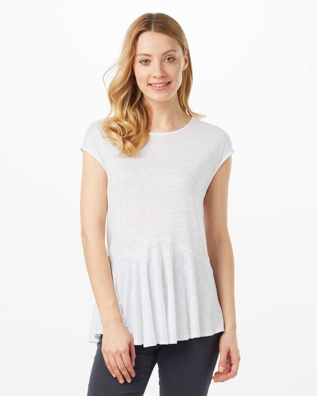 Bernadette Linen Top - pattern: plain; predominant colour: ivory/cream; occasions: casual; length: standard; style: top; fibres: linen - 100%; fit: body skimming; neckline: crew; sleeve length: short sleeve; sleeve style: standard; pattern type: fabric; texture group: jersey - stretchy/drapey; season: s/s 2016