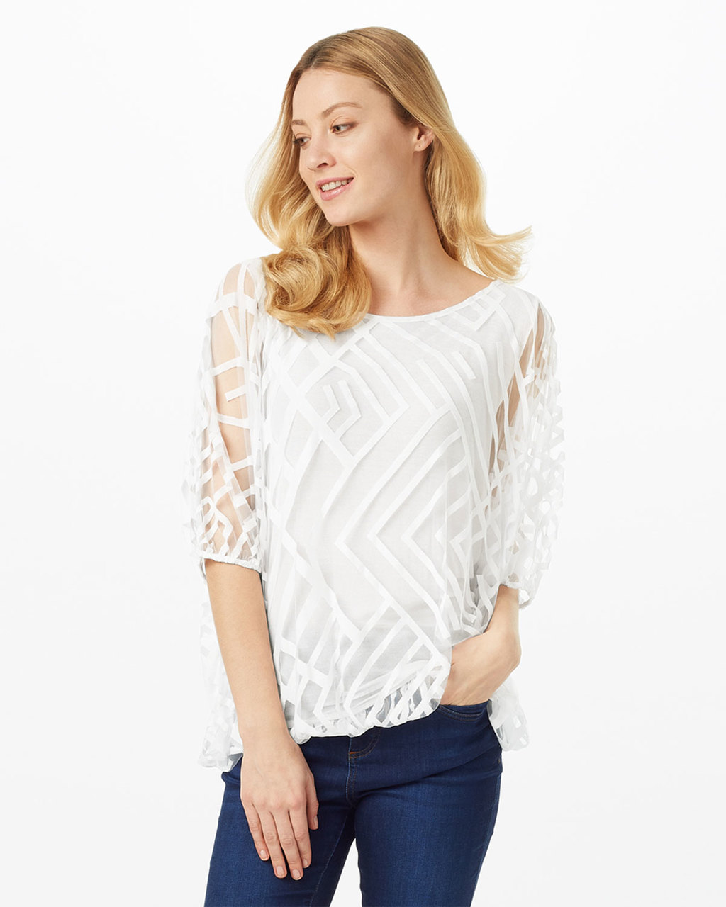 Eve Geo Burnout - neckline: round neck; pattern: plain; style: standard; predominant colour: ivory/cream; occasions: casual; length: standard; fit: slim fit; sleeve length: 3/4 length; sleeve style: standard; texture group: knits/crochet; pattern type: fabric; fibres: viscose/rayon - mix; shoulder detail: sheer at shoulder; season: s/s 2016