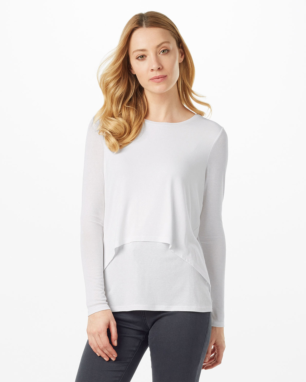 Dita Dbl Layer Top - pattern: plain; length: below the bottom; predominant colour: light grey; occasions: casual; style: top; fibres: viscose/rayon - stretch; fit: body skimming; neckline: crew; sleeve length: long sleeve; sleeve style: standard; pattern type: fabric; texture group: jersey - stretchy/drapey; season: s/s 2016; wardrobe: basic