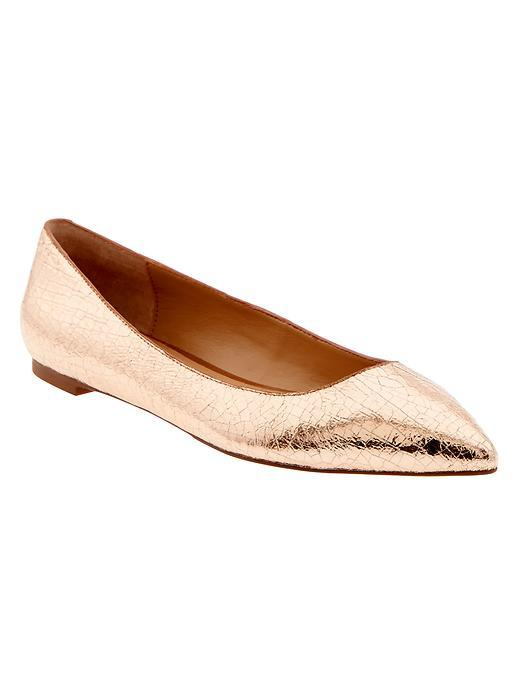 Angela Pointed Toe Flat Rose Gold - predominant colour: gold; occasions: casual, creative work; material: leather; heel height: flat; toe: pointed toe; style: ballerinas / pumps; finish: metallic; pattern: plain; season: s/s 2016; wardrobe: basic