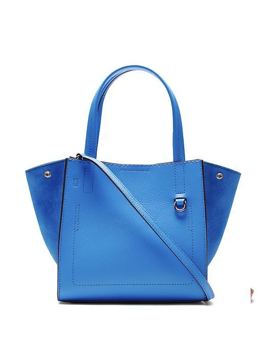 Pebbled Italian Leather Mini Tote Blue - predominant colour: diva blue; occasions: casual, creative work; type of pattern: standard; style: tote; length: handle; size: standard; material: leather; pattern: plain; finish: plain; season: s/s 2016; wardrobe: highlight