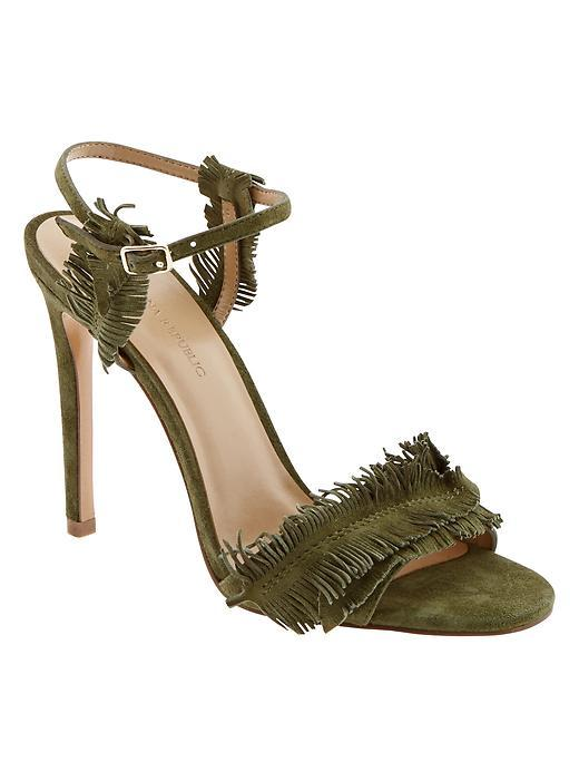 Bryn Feather Fringe Heeled Sandal Neutral - predominant colour: khaki; occasions: evening, occasion; material: suede; ankle detail: ankle strap; heel: stiletto; toe: open toe/peeptoe; style: strappy; finish: plain; pattern: plain; embellishment: fringing; heel height: very high; season: s/s 2016