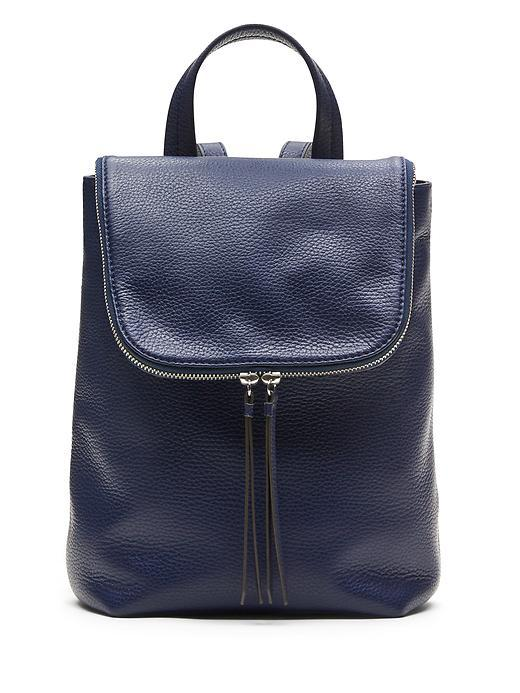 Italian Leather Mini Backpack Navy - predominant colour: navy; occasions: casual, creative work; type of pattern: standard; style: rucksack; length: rucksack; size: standard; material: leather; pattern: plain; finish: plain; season: s/s 2016