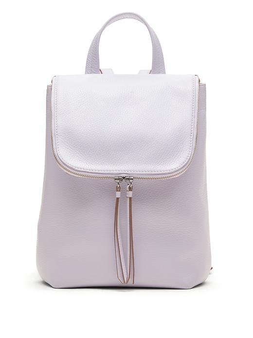 Italian Leather Mini Backpack Lilac - predominant colour: lilac; occasions: casual, creative work; type of pattern: standard; style: rucksack; length: rucksack; size: standard; material: leather; pattern: plain; finish: plain; season: s/s 2016; wardrobe: highlight