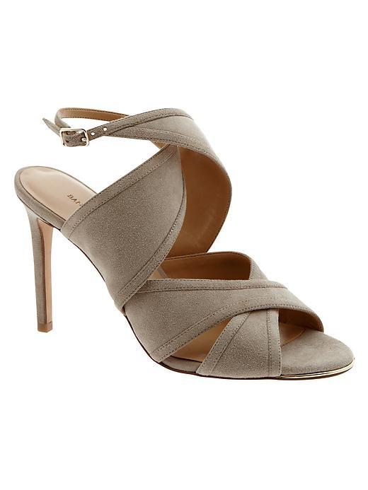 Jacee Suede Heel Greige - predominant colour: stone; occasions: evening, occasion; material: suede; heel height: high; heel: stiletto; toe: open toe/peeptoe; style: slingbacks; finish: plain; pattern: plain; season: s/s 2016; wardrobe: event