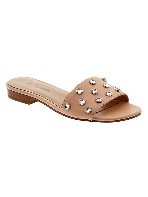 Olena Embellished Slide Sandal Natural - predominant colour: camel; secondary colour: silver; material: leather; heel height: flat; embellishment: crystals/glass; heel: standard; toe: open toe/peeptoe; style: slides; occasions: holiday; finish: plain; pattern: plain; season: s/s 2016