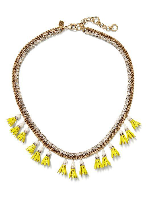 Floral Bell Necklace Brass - secondary colour: yellow; predominant colour: gold; occasions: casual, creative work; length: short; size: large/oversized; material: chain/metal; finish: metallic; embellishment: jewels/stone; style: bib/statement; multicoloured: multicoloured; season: s/s 2016; wardrobe: highlight