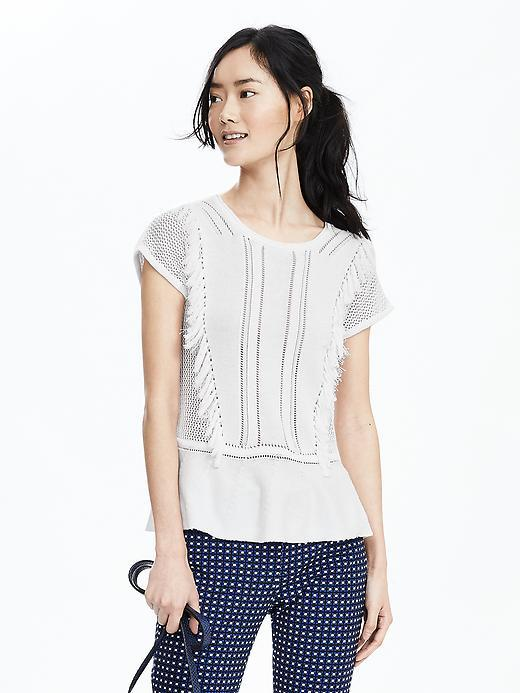 Fringe Trim Top White - neckline: round neck; pattern: plain; style: t-shirt; predominant colour: white; occasions: casual; length: standard; fibres: cotton - mix; fit: body skimming; sleeve length: short sleeve; sleeve style: standard; texture group: cotton feel fabrics; pattern type: fabric; season: s/s 2016; wardrobe: basic
