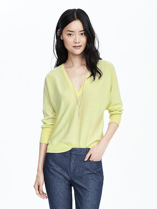 Double Vee Wool Sweater Yellow - neckline: v-neck; sleeve style: dolman/batwing; pattern: plain; style: standard; predominant colour: primrose yellow; occasions: casual, creative work; length: standard; fibres: cotton - mix; fit: loose; sleeve length: 3/4 length; texture group: knits/crochet; pattern type: knitted - fine stitch; season: s/s 2016; wardrobe: highlight