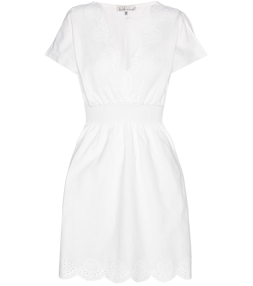 Broderie Anglaise Cotton Dress - length: mid thigh; neckline: v-neck; fit: fitted at waist; pattern: plain; style: sundress; waist detail: fitted waist; predominant colour: white; occasions: casual; fibres: cotton - 100%; sleeve length: short sleeve; sleeve style: standard; pattern type: fabric; texture group: other - light to midweight; season: s/s 2016; wardrobe: basic