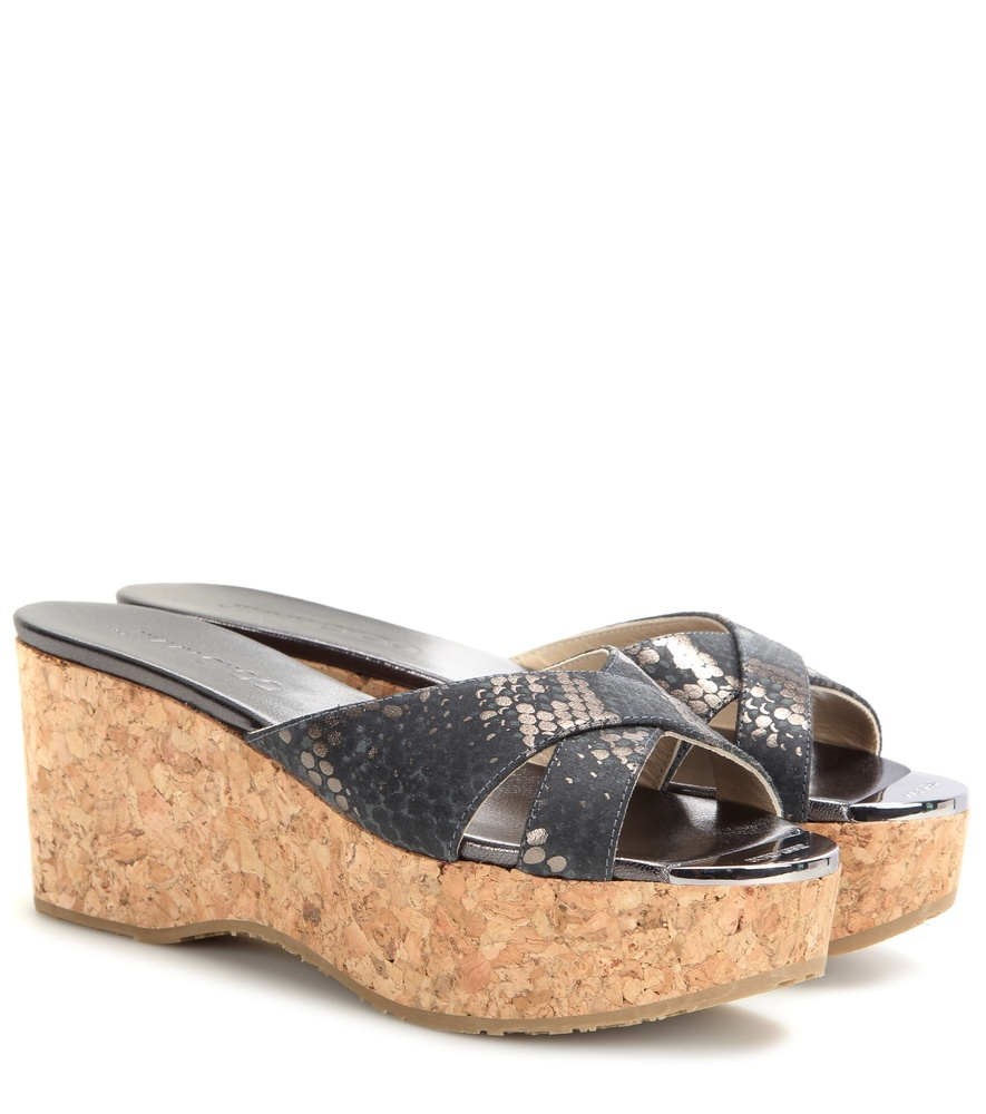 Prima Cork Wedge Sandals - secondary colour: camel; predominant colour: black; occasions: casual, holiday; material: leather; heel height: high; heel: wedge; toe: open toe/peeptoe; style: slides; finish: plain; pattern: animal print; shoe detail: platform; season: s/s 2016; wardrobe: highlight