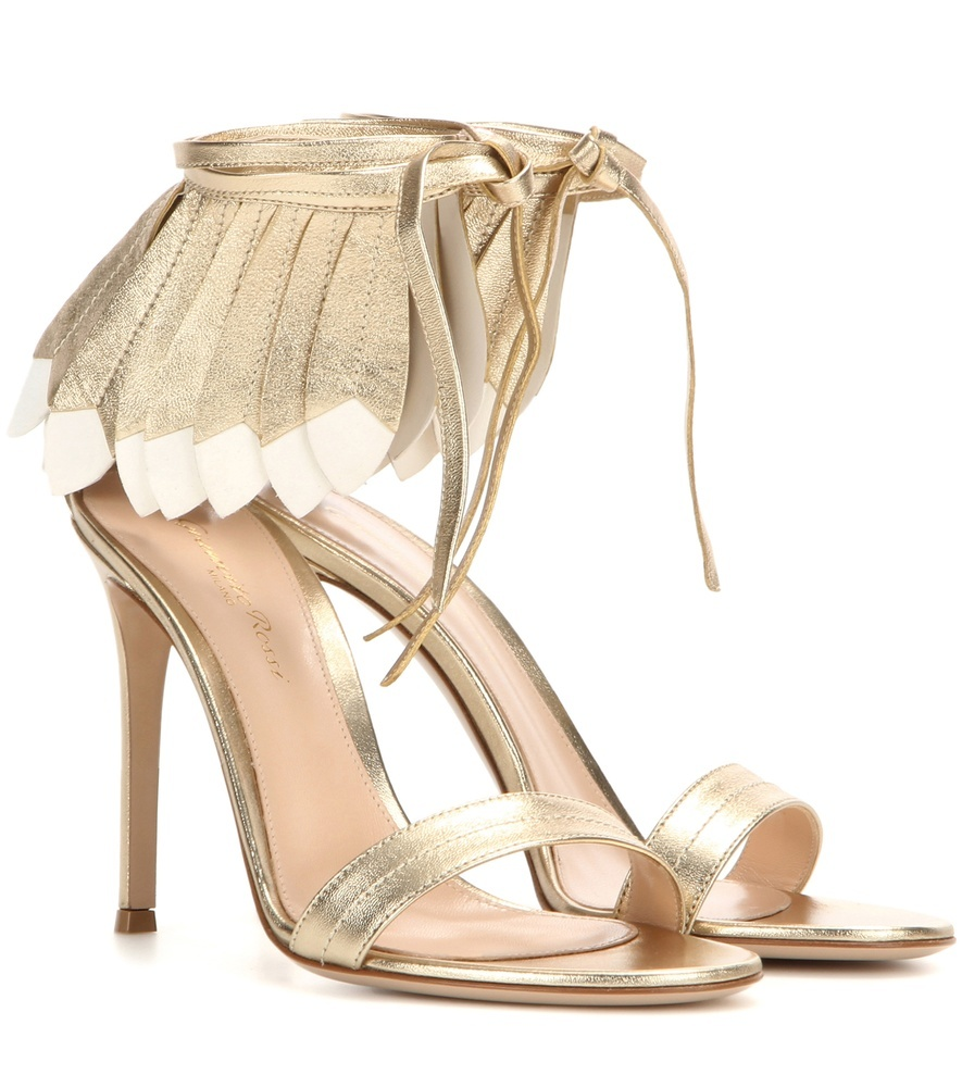 Queen Metallic Leather Sandals - predominant colour: gold; occasions: evening, occasion; material: leather; ankle detail: ankle strap; heel: stiletto; toe: open toe/peeptoe; style: strappy; finish: metallic; pattern: plain; embellishment: fringing; heel height: very high; season: s/s 2016; wardrobe: event