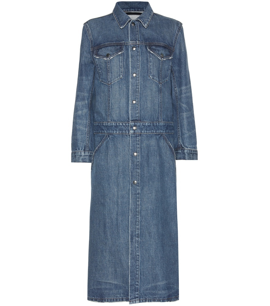 Denim Trench Coat - pattern: plain; style: trench coat; length: on the knee; predominant colour: denim; occasions: casual; fit: straight cut (boxy); fibres: cotton - stretch; collar: shirt collar/peter pan/zip with opening; sleeve length: long sleeve; sleeve style: standard; texture group: denim; collar break: high; pattern type: fabric; season: s/s 2016