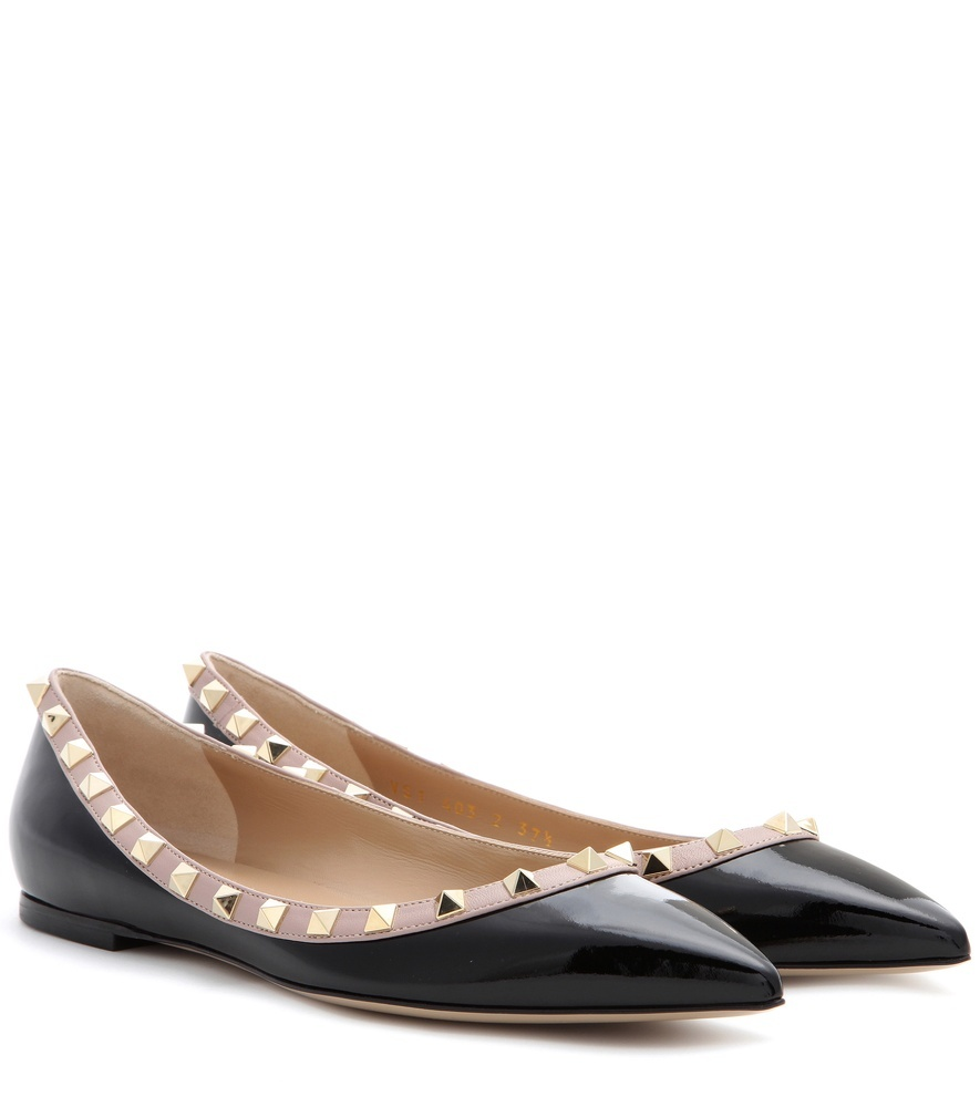 Garavani Rockstud Patent Leather Ballerinas - secondary colour: blush; predominant colour: black; occasions: casual, creative work; material: leather; heel height: flat; embellishment: studs; toe: pointed toe; style: ballerinas / pumps; finish: patent; pattern: plain; season: s/s 2016; wardrobe: basic