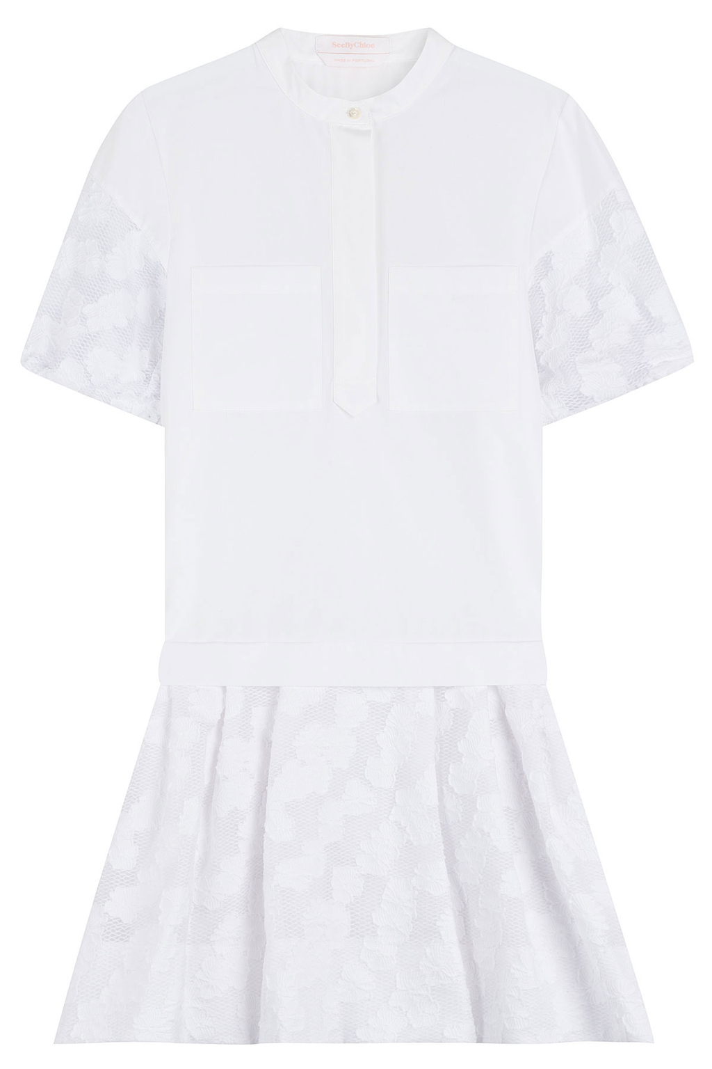 Cotton Dress - length: mid thigh; style: drop waist; pattern: polka dot; predominant colour: white; occasions: casual; fit: body skimming; neckline: collarstand; fibres: cotton - 100%; sleeve length: short sleeve; sleeve style: standard; texture group: cotton feel fabrics; pattern type: fabric; season: s/s 2016; wardrobe: highlight