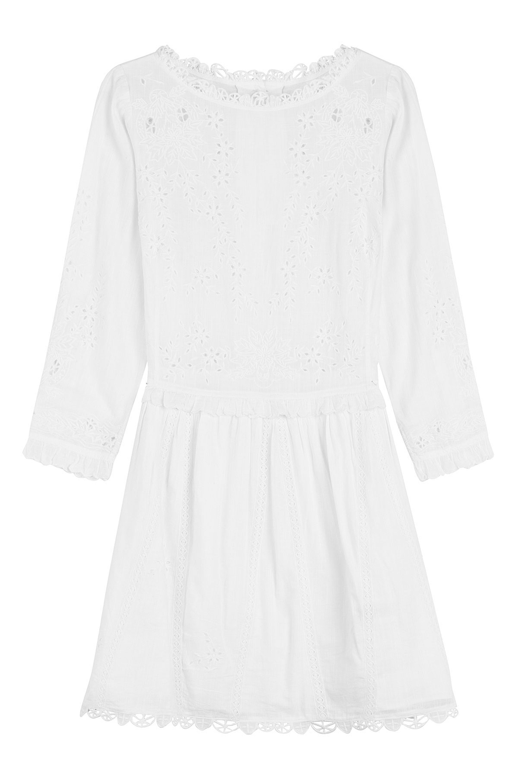Cotton Dress With Embroidery White - style: shift; length: mid thigh; pattern: plain; neckline: high neck; predominant colour: white; occasions: casual, creative work; fit: soft a-line; fibres: cotton - 100%; sleeve length: 3/4 length; sleeve style: standard; pattern type: fabric; embellishment: embroidered; texture group: broiderie anglais; season: s/s 2016; wardrobe: highlight