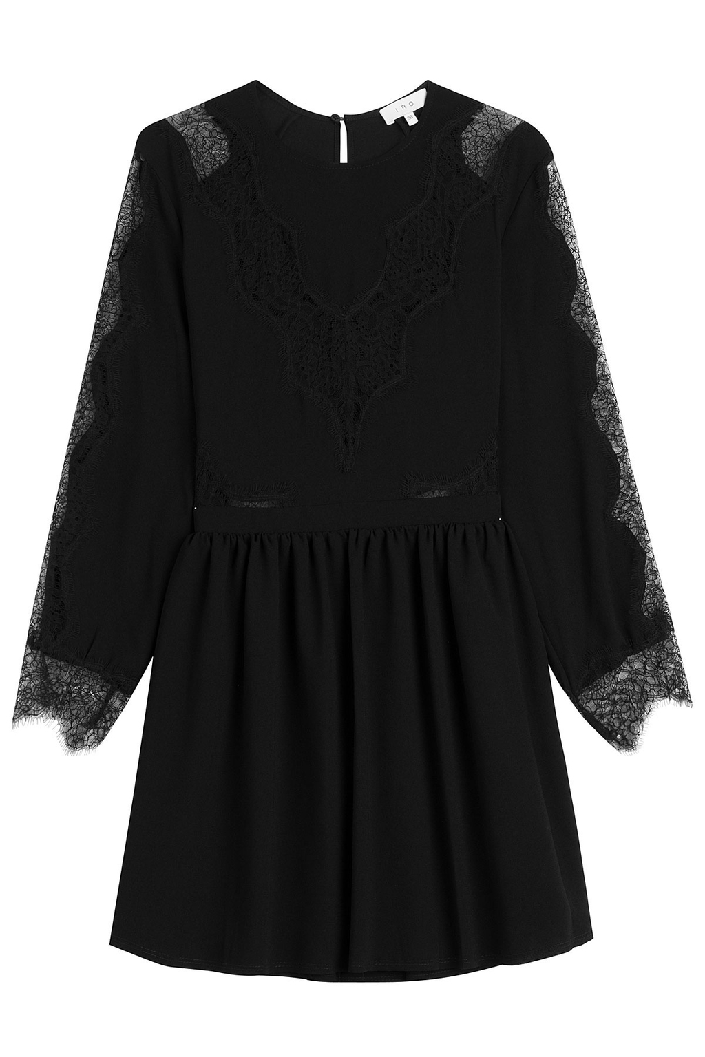 Dress With Lace Black - length: mini; pattern: plain; predominant colour: black; occasions: evening; fit: fitted at waist & bust; style: fit & flare; neckline: crew; sleeve length: 3/4 length; sleeve style: standard; pattern type: fabric; texture group: woven light midweight; fibres: viscose/rayon - mix; embellishment: lace; season: s/s 2016