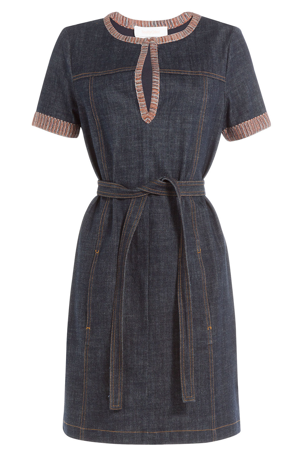 Denim Dress With Knit Trim - style: tunic; length: mid thigh; pattern: striped; secondary colour: burgundy; predominant colour: navy; occasions: casual; fit: body skimming; neckline: peep hole neckline; fibres: cotton - 100%; sleeve length: short sleeve; sleeve style: standard; texture group: denim; pattern type: fabric; pattern size: light/subtle; season: s/s 2016; wardrobe: highlight