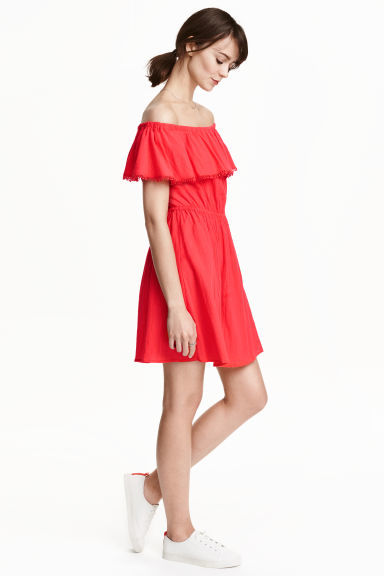 Cotton Off The Shoulder Dress - length: mid thigh; neckline: off the shoulder; sleeve style: angel/waterfall; fit: fitted at waist; pattern: plain; style: sundress; waist detail: elasticated waist; predominant colour: true red; occasions: casual, holiday; fibres: cotton - stretch; hip detail: soft pleats at hip/draping at hip/flared at hip; sleeve length: short sleeve; bust detail: tiers/frills/bulky drapes/pleats; pattern type: fabric; texture group: jersey - stretchy/drapey; season: s/s 2016