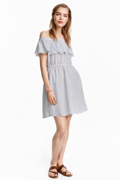 Cotton Off The Shoulder Dress - length: mid thigh; neckline: off the shoulder; sleeve style: angel/waterfall; fit: fitted at waist; style: sundress; waist detail: elasticated waist; pattern: pinstripe; secondary colour: white; predominant colour: pale blue; occasions: casual, holiday; fibres: cotton - 100%; hip detail: soft pleats at hip/draping at hip/flared at hip; sleeve length: short sleeve; texture group: cotton feel fabrics; bust detail: tiers/frills/bulky drapes/pleats; pattern type: fabric; pattern size: light/subtle; season: s/s 2016