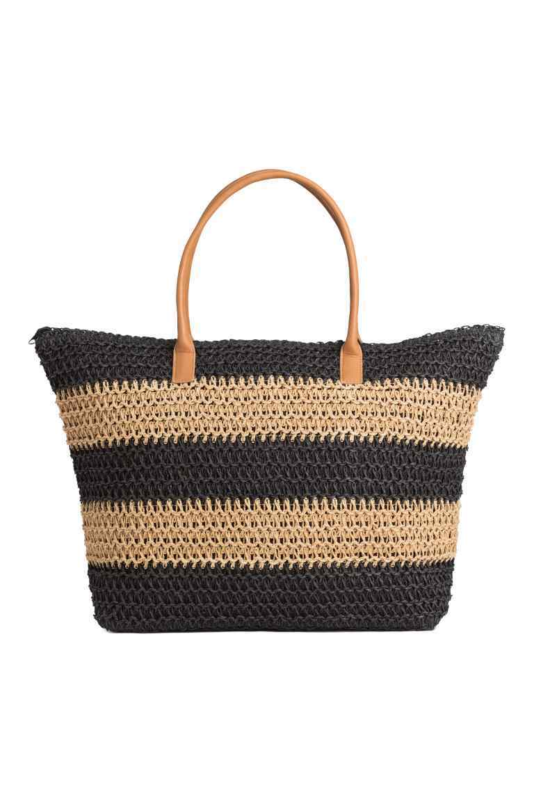 Shopper - predominant colour: navy; secondary colour: camel; occasions: casual, holiday; type of pattern: light; style: tote; length: handle; size: oversized; material: macrame/raffia/straw; finish: plain; pattern: horizontal stripes; season: s/s 2016; trends: graphic stripes; wardrobe: highlight
