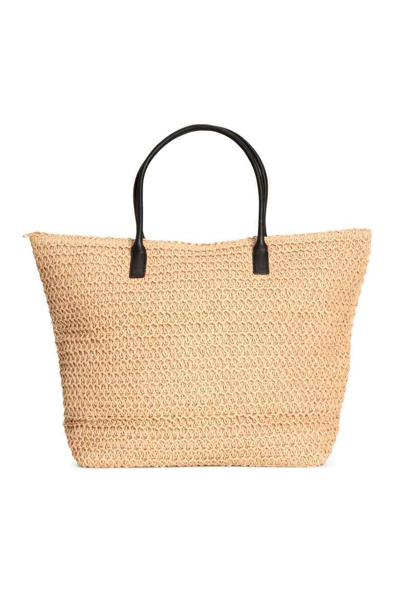 Shopper - predominant colour: camel; secondary colour: black; occasions: casual, holiday; type of pattern: standard; style: tote; length: handle; size: oversized; material: macrame/raffia/straw; finish: plain; pattern: colourblock; season: s/s 2016