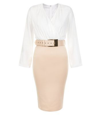 White Belted 2 In 1 Midi Dress - style: faux wrap/wrap; neckline: v-neck; fit: tight; waist detail: belted waist/tie at waist/drawstring; secondary colour: white; predominant colour: nude; occasions: evening; length: just above the knee; fibres: polyester/polyamide - stretch; sleeve length: long sleeve; sleeve style: standard; texture group: jersey - clingy; pattern type: fabric; pattern size: standard; pattern: colourblock; multicoloured: multicoloured; season: s/s 2016; wardrobe: event