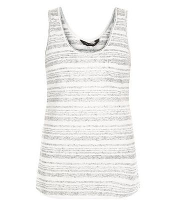 Grey Stripe Vest - neckline: round neck; pattern: horizontal stripes; sleeve style: sleeveless; style: vest top; secondary colour: mid grey; predominant colour: light grey; occasions: casual; length: standard; fibres: polyester/polyamide - mix; fit: body skimming; sleeve length: sleeveless; pattern type: fabric; texture group: jersey - stretchy/drapey; season: s/s 2016
