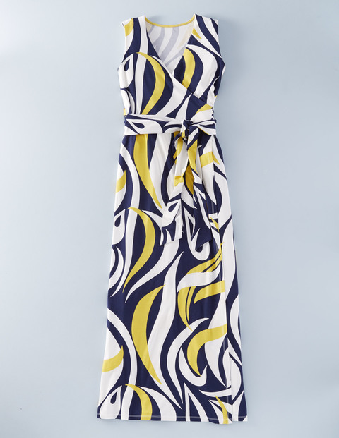 Sleeveless Wrap Maxi Mimosa Large Swirl Women, Mimosa Large Swirl - neckline: low v-neck; sleeve style: sleeveless; style: maxi dress; length: ankle length; waist detail: belted waist/tie at waist/drawstring; predominant colour: navy; secondary colour: primrose yellow; occasions: evening; fit: body skimming; fibres: viscose/rayon - stretch; sleeve length: sleeveless; pattern type: fabric; pattern: patterned/print; texture group: jersey - stretchy/drapey; multicoloured: multicoloured; season: s/s 2016; wardrobe: event