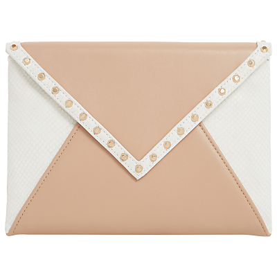 Barcel Envelope Clutch Bag, White/Nude - secondary colour: white; predominant colour: nude; occasions: occasion; type of pattern: light; style: clutch; length: hand carry; size: small; material: faux leather; embellishment: studs; finish: plain; pattern: colourblock; season: s/s 2016; wardrobe: event