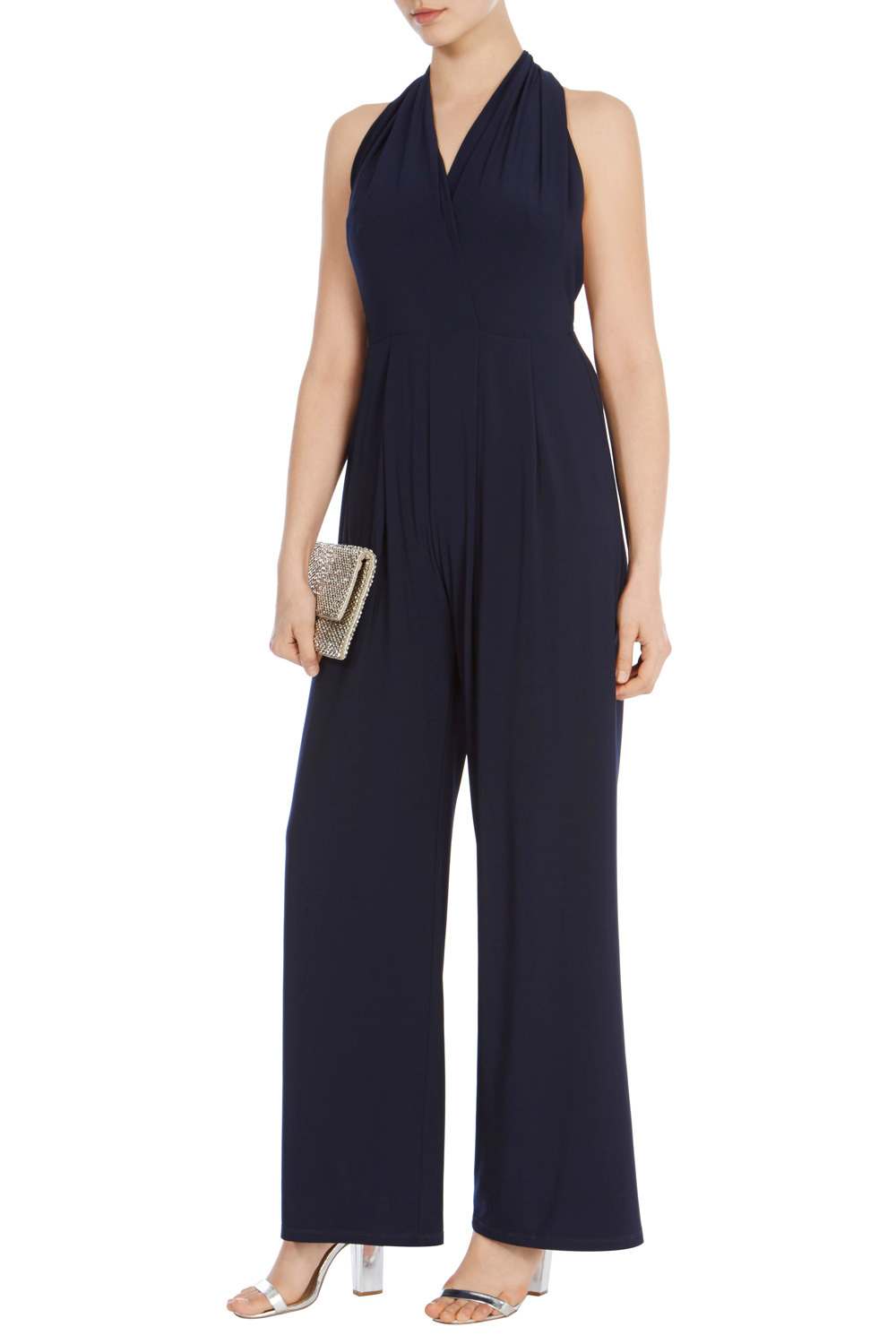 Corwin Jersey Jumpsuit - length: standard; pattern: plain; sleeve style: sleeveless; neckline: low halter neck; predominant colour: black; occasions: evening; fit: body skimming; fibres: polyester/polyamide - stretch; sleeve length: sleeveless; style: jumpsuit; pattern type: fabric; texture group: jersey - stretchy/drapey; season: s/s 2016; wardrobe: event