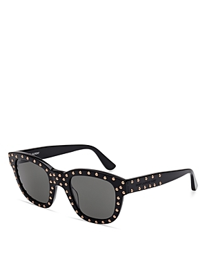 Lou Studded Square Sunglasses, 48mm - secondary colour: silver; predominant colour: black; style: square; size: standard; material: plastic/rubber; embellishment: studs; pattern: plain; occasions: holiday; finish: plain; season: s/s 2016; wardrobe: basic